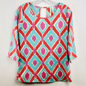 💘 Ikat Tribal Popover Blouse Top Keyhole Small